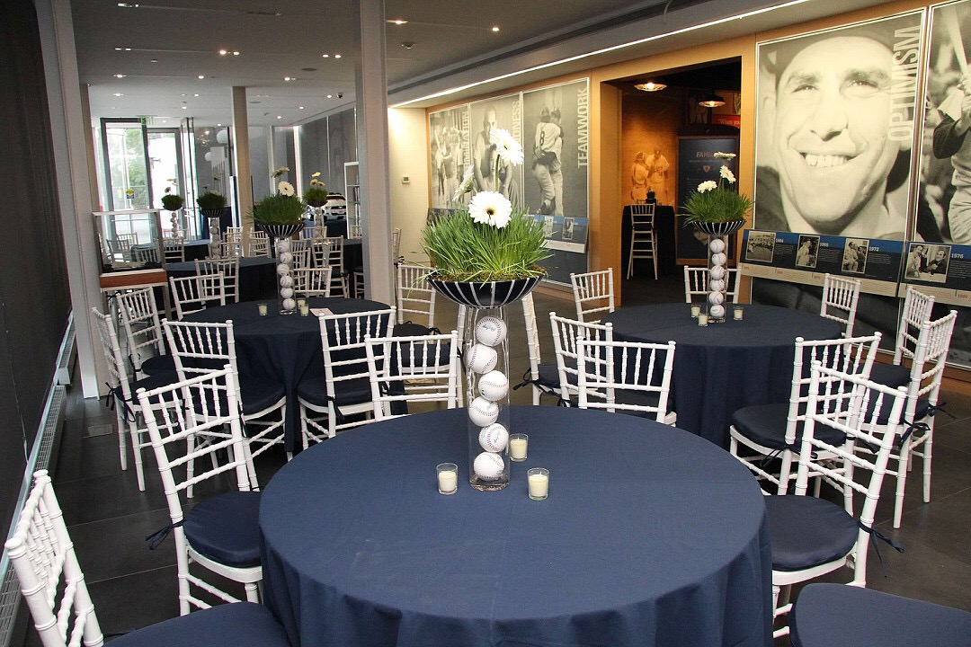 Banquet tables set up for an event at the Museum