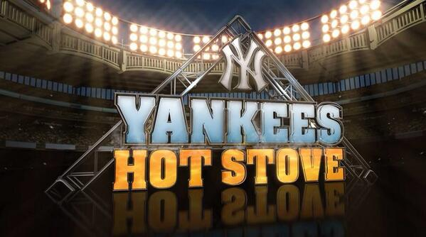 yankees hot stove graphic text surrounded by stadium lights