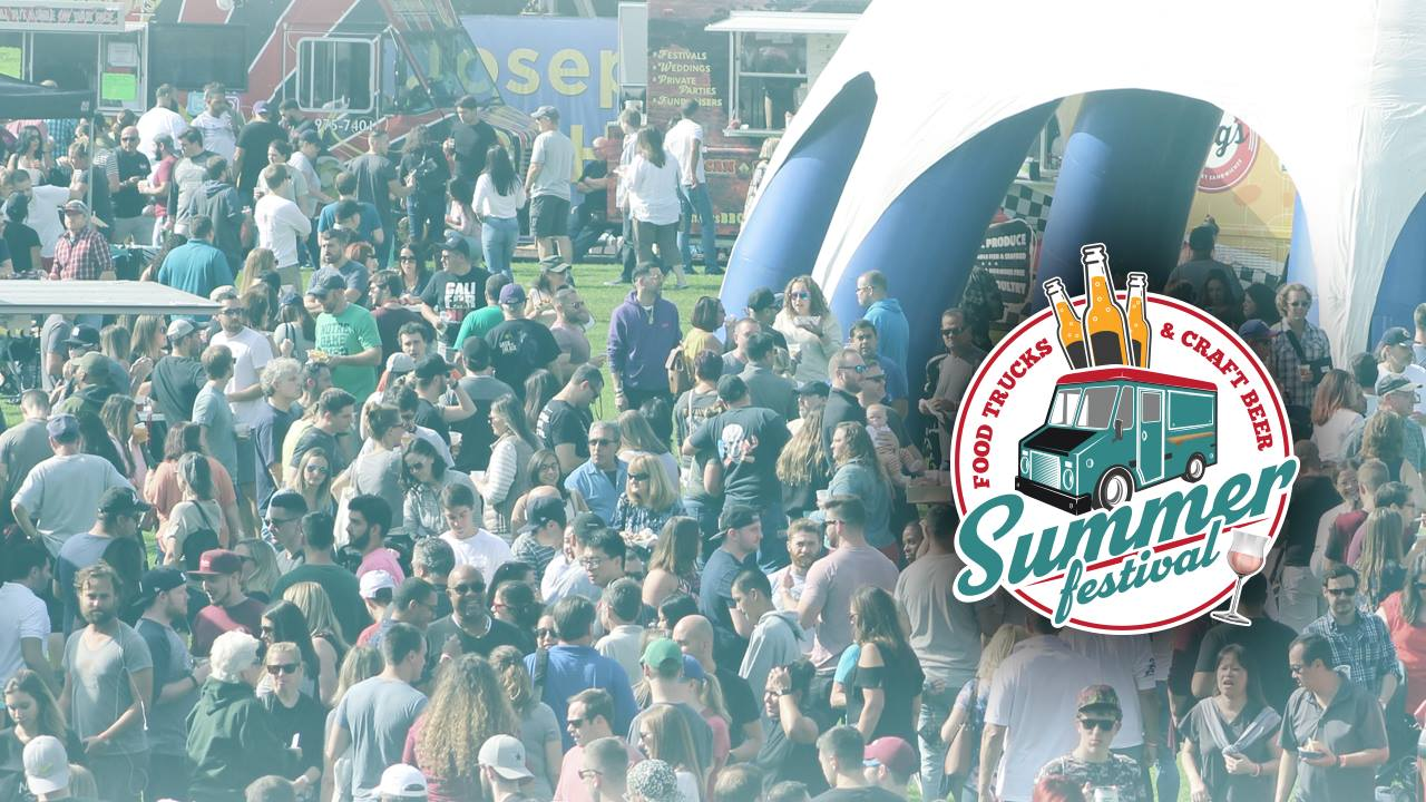 """""""Summer Festival Food Trucks & Craft Beer"""" logo overlaid on an image of a crowd"""