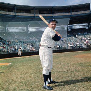 2/22/1962- Ft. Lauderdale, FL: Yogi Berra, NY Yankees, batting poses spring training camp.