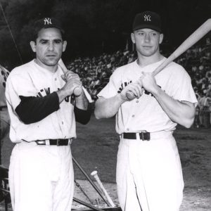 New York Yankees Yogi Berra and Mickey Mantle before game in 1954
