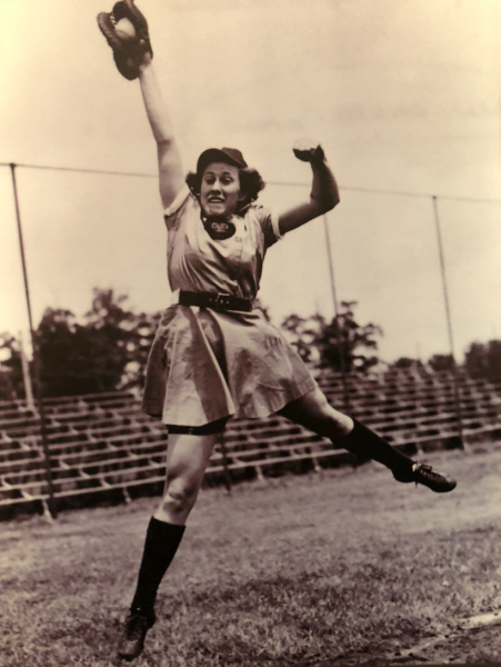 Dottie Kamenshek leaps for a fly ball.