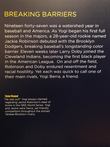 Breaking Barriers poster: An exhibit in the Yogi Berra Museum & Learning Center dedicated to the friendship of Yogi Berra and Jackie Robinson