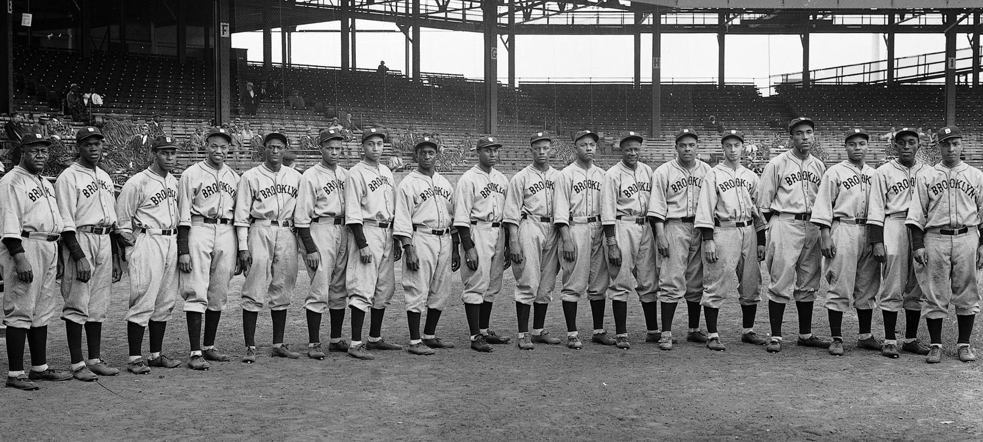 Baseball team lined up horizontally.