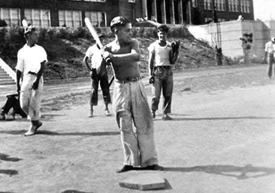 Yogi Berra playing baseball as a youth