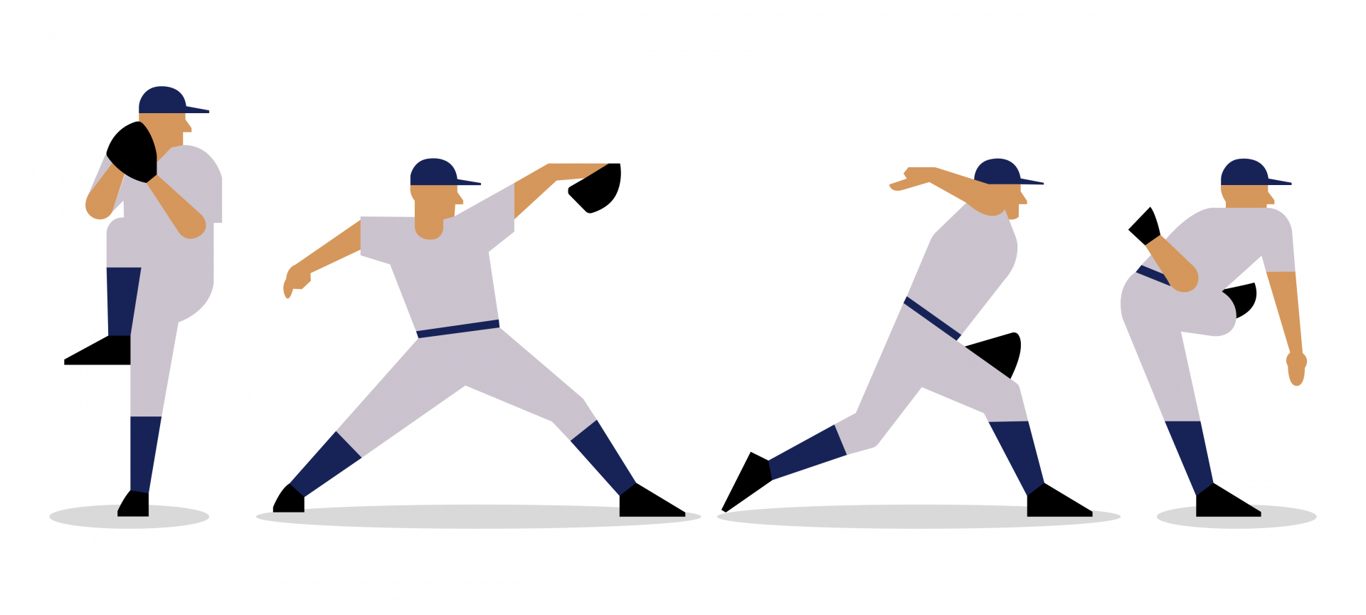 Illustration of the phases of a pitchers throw.
