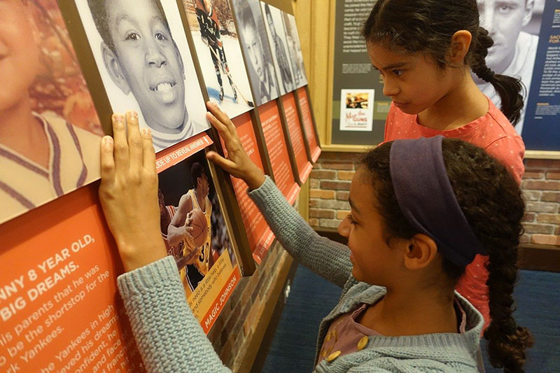 Students interacting with the Museum's permanent exhibition