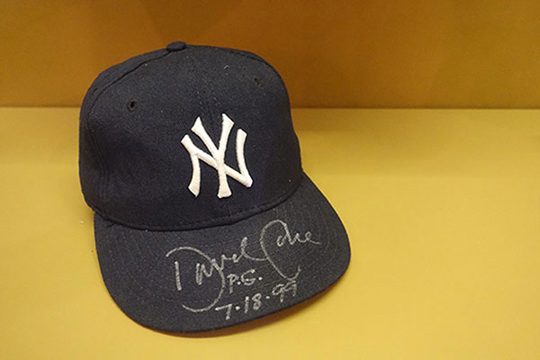 Game-used baseball cap signed by David Cone from his 1999 perfect game