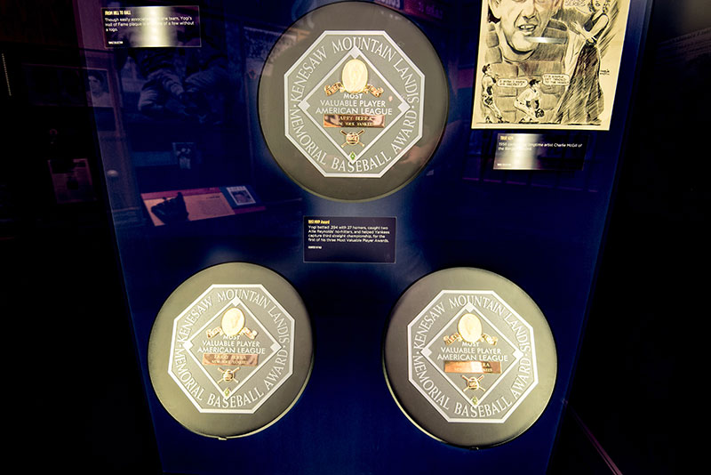 Yogi's three American League MVP plaques