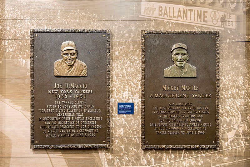 Original Monument Park plaques honoring teammates Joe DiMaggio & Mickey Mantle