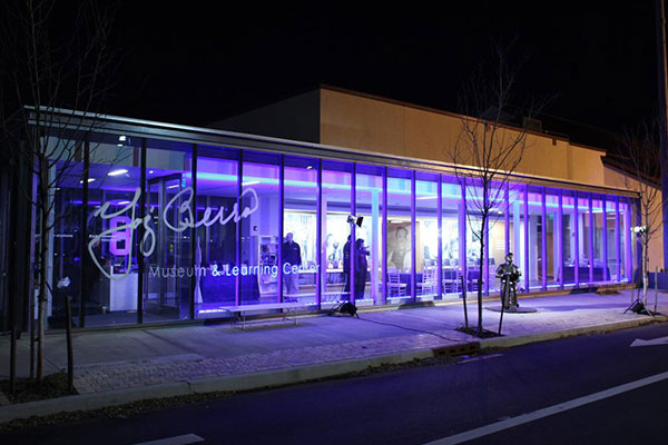 Outside the Yogi Berra Museum & Learning Center, at night