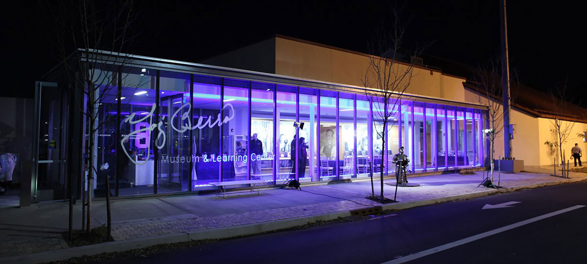 Outside of the Yogi Berra Museum & Learning Center, at night