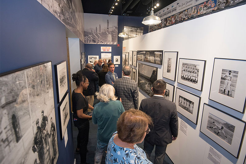 Visitors gather in the exhibit hallway.